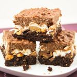 Crack Brownies--brownies, peanuts, marshmallows, Reese's peanut butter cups, chocolate, peanut butter and Rice Krispies