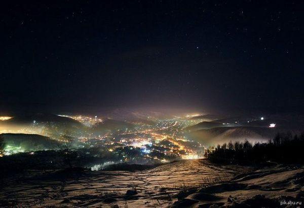 Ночной Горно-Алтайск. Красота
