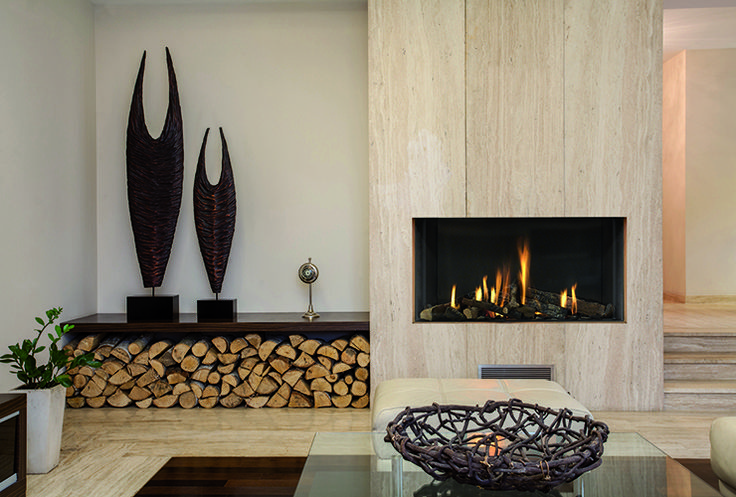 A frameless, built-in gas fireplace the Modore 95 by Element4 is a single-sided direct vent fireplace with exceptionally clean lines.