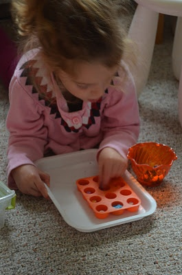 Bead transfer by hand, sorting by color--perfect for 3 year olds
