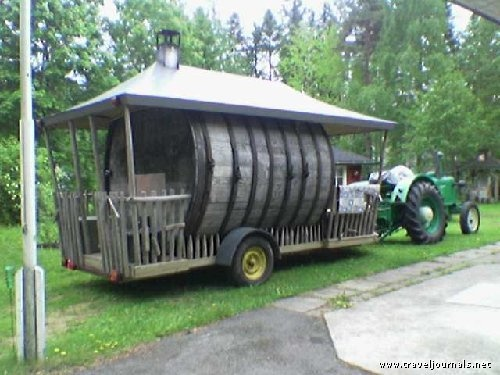 Old whiskey barrel turned to Sauna and moved by Zetor Super tractor, Kurikka, Finland  cool mobile sauna