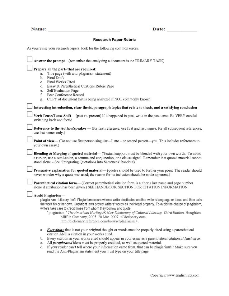 English iv research paper rubric