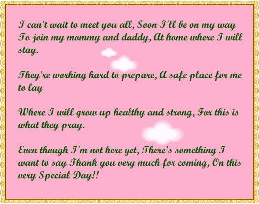 A short baby shower thank you poem                                                                                                                                                                                 More