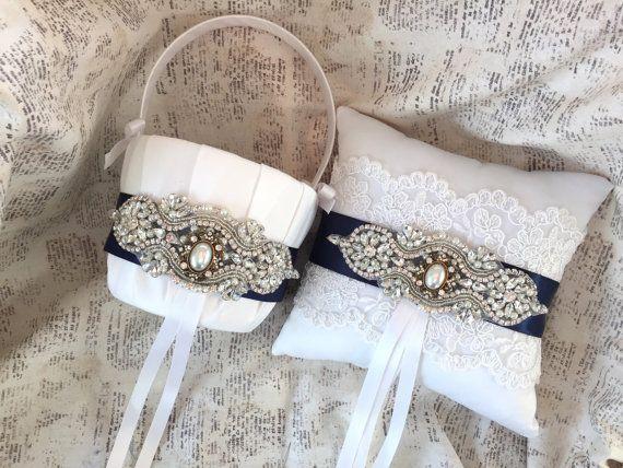 Navy Blue Flower Girl Basket, Navy Ring Bearer Pillow, Vintage Ring Pillow…