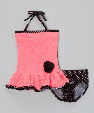 Another great find on #zulily! Bright Pink & Black Ruffle Tankini - Infant, Toddler & Girls by Frankie & Daisy #zulilyfinds