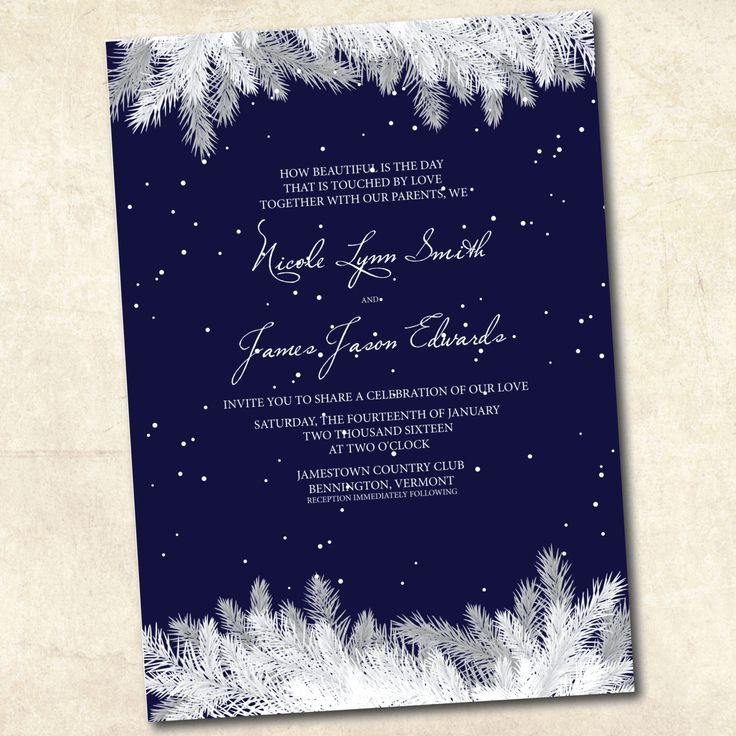 Winter Wedding Invitation  Navy Blue Winter by LivingHueDesign