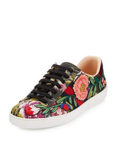 Gucci New Ace Men's Floral Leather Low-Top Sneaker, Black