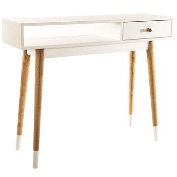 Hobby Lobby, White & Natural Console Table with Drawer, 112