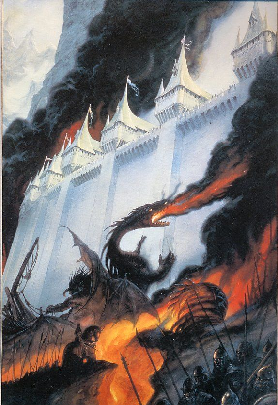 The Lord of the Rings - John Howe Art - The Silmarillion - 'The Fall of Gondolin'                                                                                                                                                                                 Más