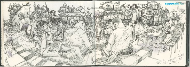 Panorama view, Hyper detailed drawing by Kim JungGi
