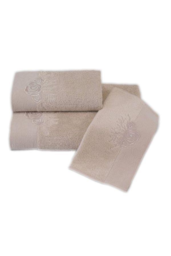 Cappuccino frotte ręczniki kąpielowe z eleganckim haftem.