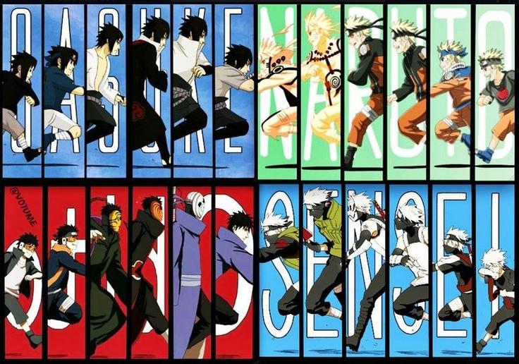 evolution des personnages de naruto SUPER PACK NARUTO
