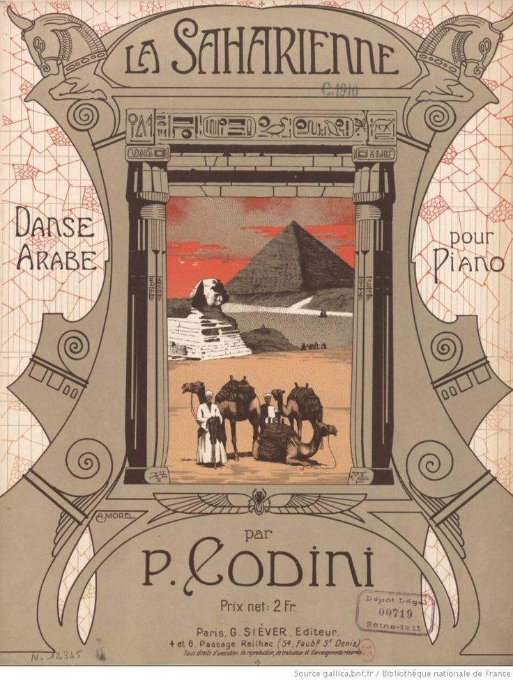 «La Saharienne : danse arabe pour piano», P. Codini (compositeur), A. Morel (illustrateur), G. Siéver (éditeur), 1911 (Gallica).