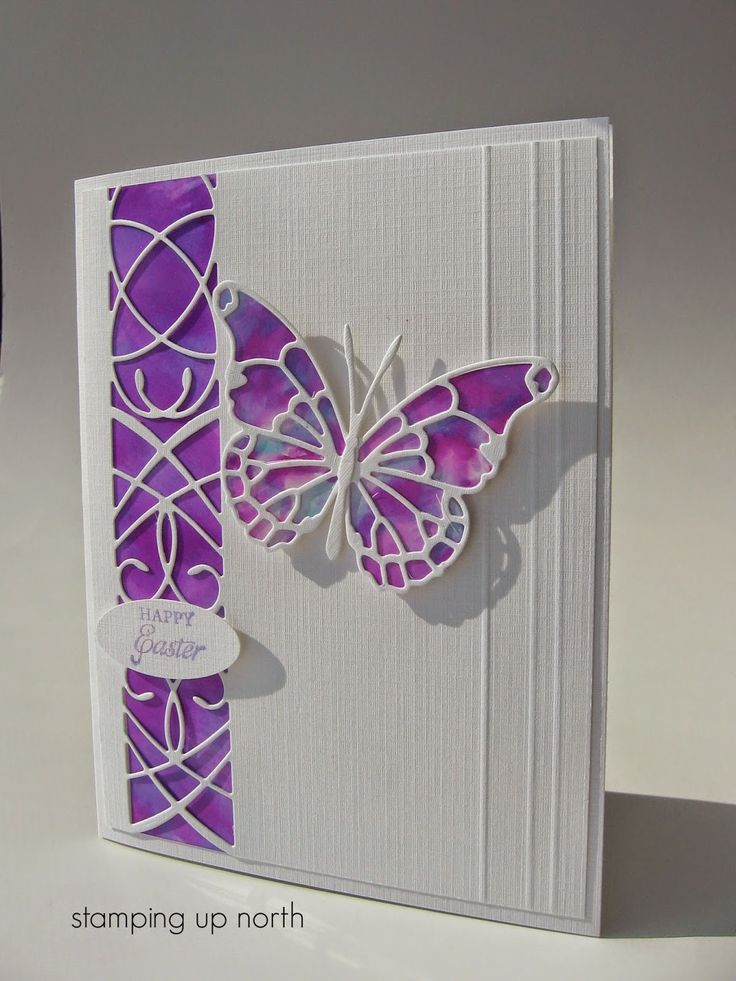 """By Laurie. Linen cardstock, alcohol inks (could try on glossy paper), Memory Box """"Lucienne Border,"""" """"Vivienne Butterfly,"""" & """"Delia Butterfly"""" dies. Score lines at right. Lovely!"""