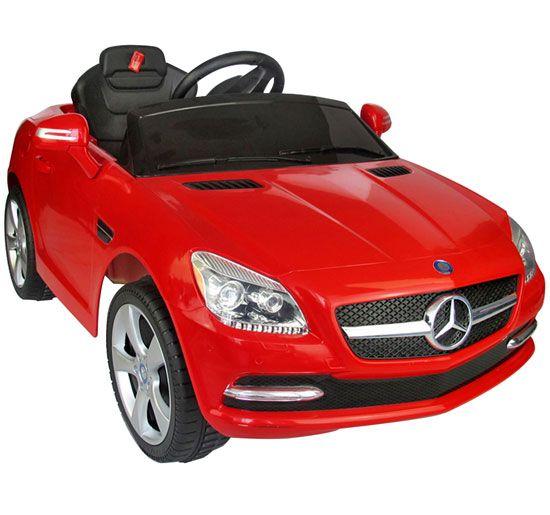 Coole Kinderautos mit Elektromotor. Zum selber fahren oder mit Fernbedieung.  Mercedes SLK 250 in rot von www.cars-4-kids.de
