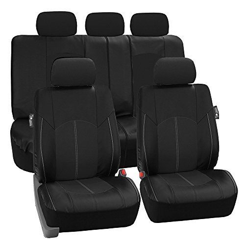 FH GROUP FH-PU008115 Perforated Leatherette Full Set Car Seat Covers, Airbag & Split Ready, Solid Black Color - Fit Most Car, Truck, Suv, or Van. For product info go to:  https://www.caraccessoriesonlinemarket.com/fh-group-fh-pu008115-perforated-leatherette-full-set-car-seat-covers-airbag-split-ready-solid-black-color-fit-most-car-truck-suv-or-van/