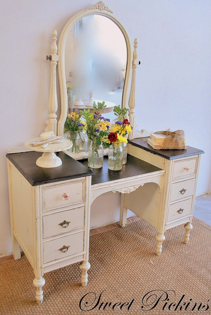 paint color – Sherwin Williams Summer White in a gloss Glaze – Minwax Dark  Walnut Stain. Antique Dresser With MirrorAntique Vanity TableVintage ... - Best 25+ Refinished Vanity Ideas On Pinterest Vintage Vanity