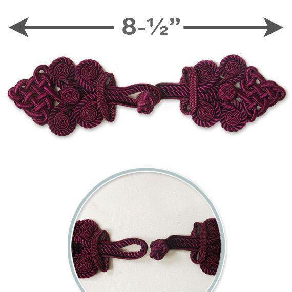 1 Set Vintage Fabric Frogs Closure Button Black Burgundy