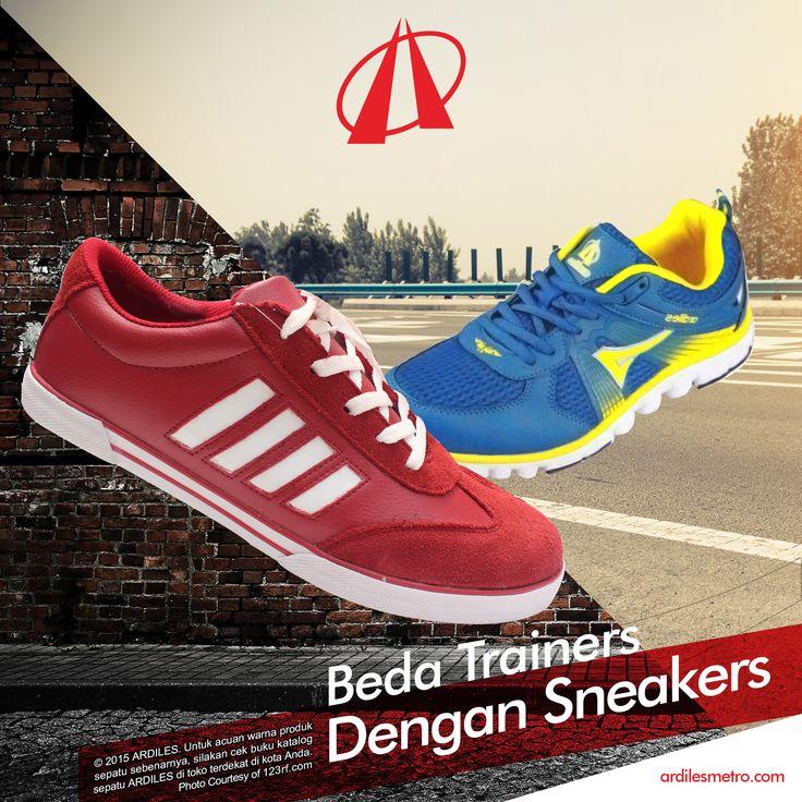 Ardiles Sneakers Lovers, ini bedanya Sneakers dengan Trainers: 1.SNEAKERS. Sepatu berlapis kanvas akan diklasifikasikan sebagai sepasang sneakers. Sneakers lebih umum digunakan pergi ke mall atau semacamnya. Sneakers lebih berfokus pada aspek fisik, penampilan. 2.TRAINERS. Dirancang lebih spesifik untuk olahraga atau kegiatan yang butuh kelincahan. Trainers dirancang lebih cenderung kepada fungsi sepatu tersebut bukan tampilan dan desain fisik.  www.ardilesmetro.com