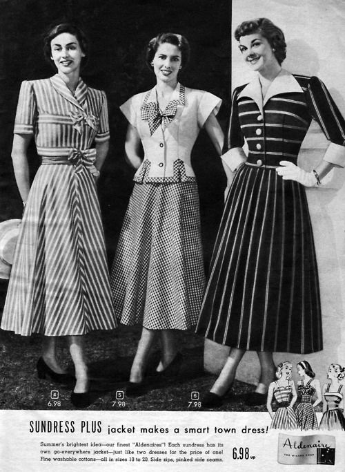 Three stylish dresses from 1948, 40s print catalogue magazine ad stripes bow blouse skirts