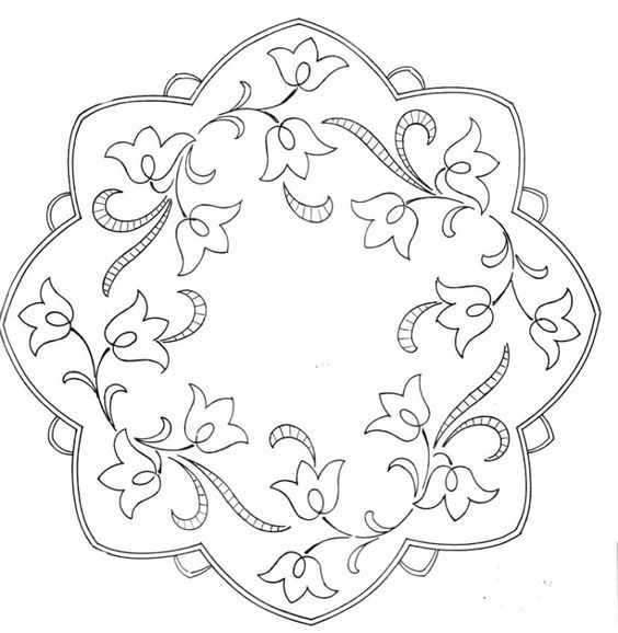 doily with stylized tulip sprigs