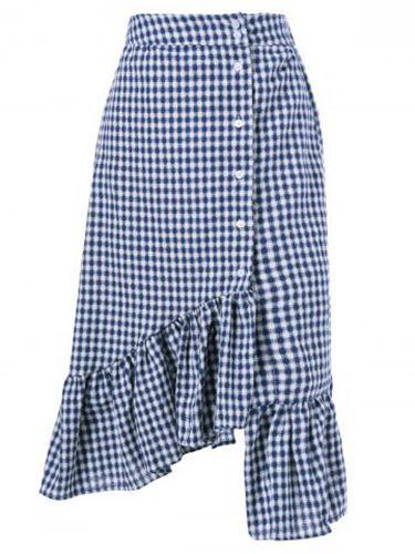 Falda Asimétrica A Cuadros, Azul / Blanco - Tiendas De Ropa Baratas