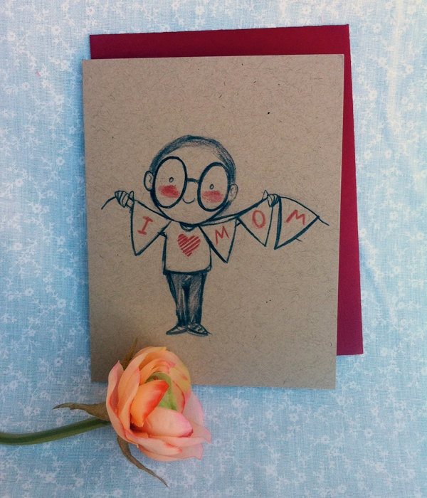 I Love Mom Mother's Day Card (BOY) - spelled on bunting flags, kraft paper