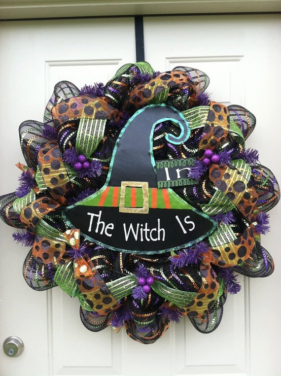 Halloween Mesh Wreath by Lily787 on Etsy, $65.00