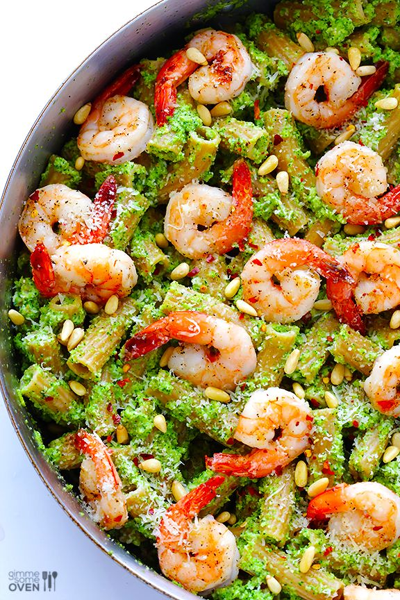 A genius, healthy, fast shrimp dinner recipe perfect for families: Shrimp Pasta with Broccoli Pesto | Gimme Some Oven