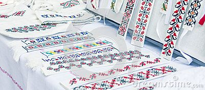 Romanian traditional embroidery on sale in Vaslui city