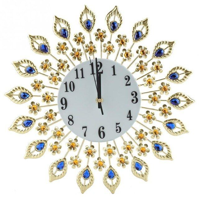 6 Types Creative Diamond Hanging Wall Clock Iron European Style Flower Shaped Wall Mounted Clock Living Room Decoration Review Diy Clock Wall Wall Clock Clock
