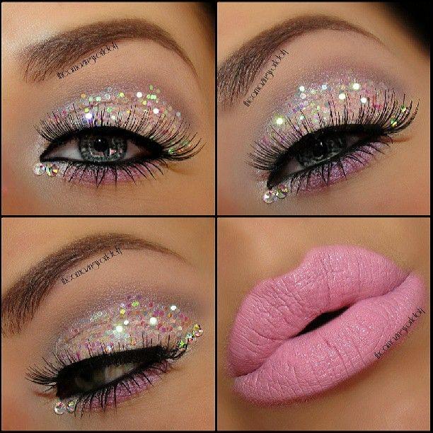 Baby pink glitter and rhinestones