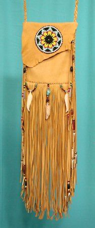 Cynthia Whitehawk - Apache Eagle Spirit & Sunflower Large Shaman Medicine Bag