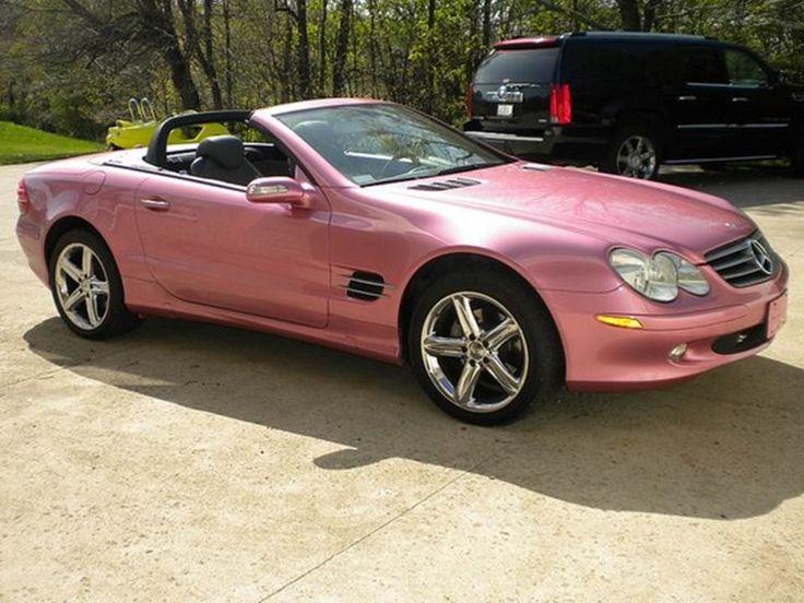 Pink mercedes convertible