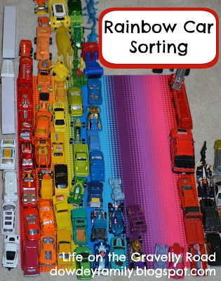 color sorting and counting with toy cars