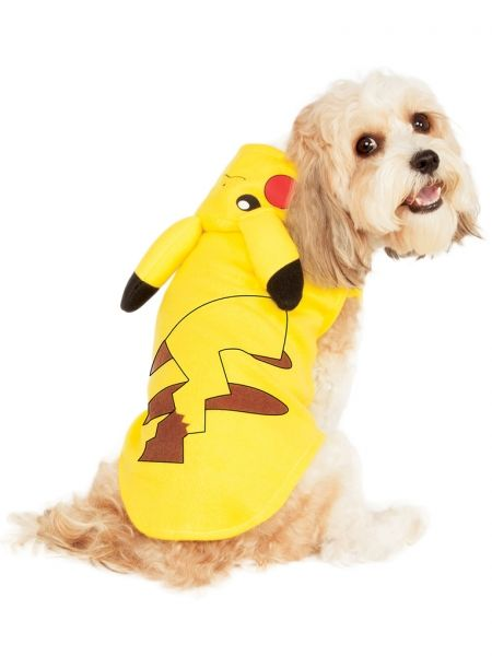 Pokemon Go Pikachu Hoodie Pet Costume - 4 sizes  This Pokemon Pikachu Hoodie Pet Costume is sure to please any Pokemon fan.  Includes (1) bodysuit with Pikachu's head printed on the hoodie and printed tail on back, has hook and loop closures underneath to hold in place.  This is an officially licensed Pokemon costume.