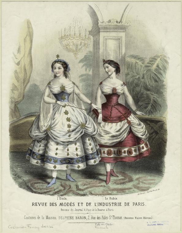 Two women dressed as 'stars' and 'rubies' from Revue des modes et de l'industrie de Paris, 1862.