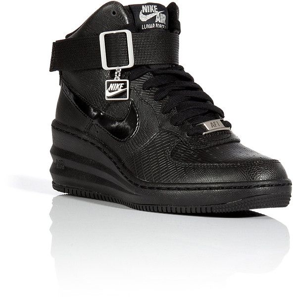Nike Lunar Force Sky Hi Wedge Sneakers (1.760 ARS) ❤ liked on Polyvore featuring shoes, sneakers, trainers, black, black trainers, wedge sneaker shoes, ankle tie shoes, kohl shoes and black wedge trainers