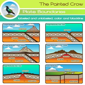 This 24 piece set includes 3 convergent, 2 divergent, and 1 transform plate boundary in labeled and unlabeled form, blackline included. The set includes 12 PNG color illustrations, and 12 PNG blackline versions. These are high resolution (300 dpi) transparent background graphics.