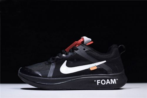 4b7ab8e1bc0ab3 Authentic Off-White x Nike Zoom Fly Black White Mens Running Shoes AJ4588- 001