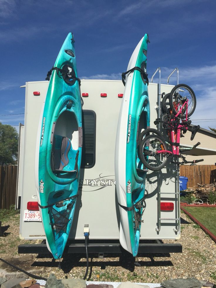 Custom kayak rack for fifth wheel made by Imex Welding and Fabrication