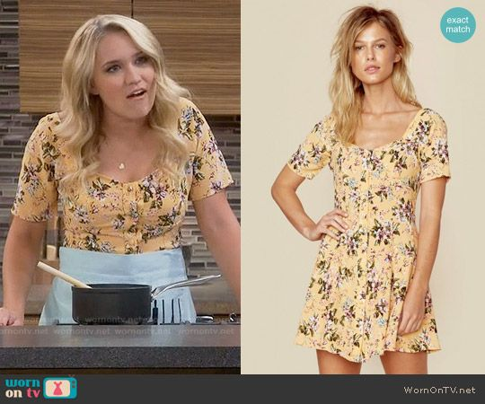 Gabi's yellow floral dress on Young and Hungry.  Outfit Details: https://wornontv.net/58893/ #YoungandHungry