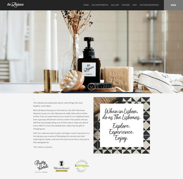 The Lisboans - This Lodgify customer personalize their website's images, and offer personalized touches such as the branded The Lisboans shampoo bottle, door sign and tote bag.  #vacationrentalwebsites #vacationrentals #webdesign #website