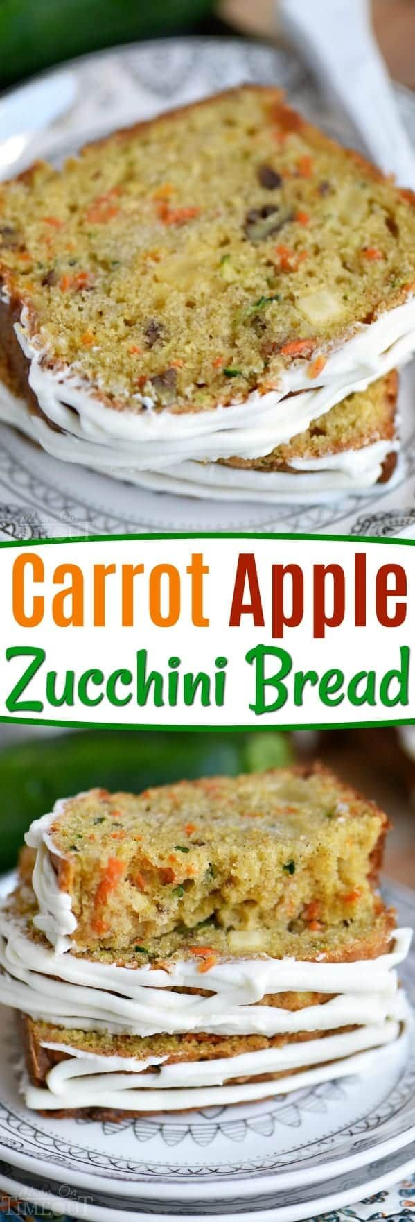 ThisCarrot Apple Zucchini Breadrecipe is incredibly moist and flavorful! Vibrant colors from the carrot, apple, and zucchini makes this quick bread irresisitble! Sure to be a new favorite! // Mom On Timeout