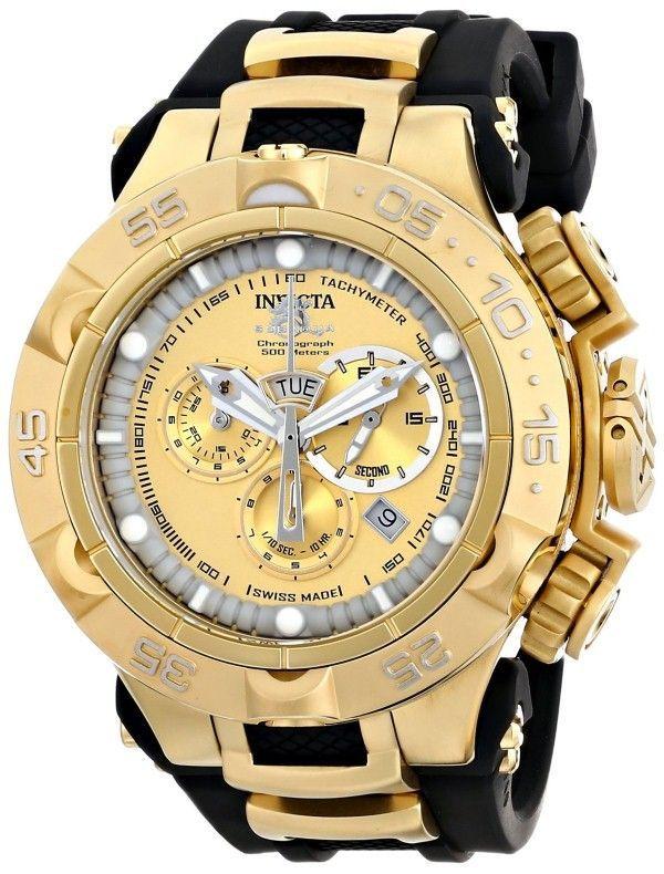 Gold watches for men Invicta Men's 15926 Subaqua Analog Display Swiss Quartz Black Watch ☆♡