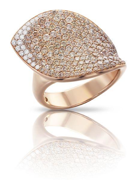 Pasquale Bruni - Anello in oro rosa con diamanti bianchi e champagne