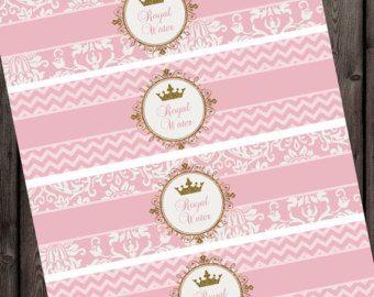 Etiquetas de las botellas de agua princesa oro rosa Royal