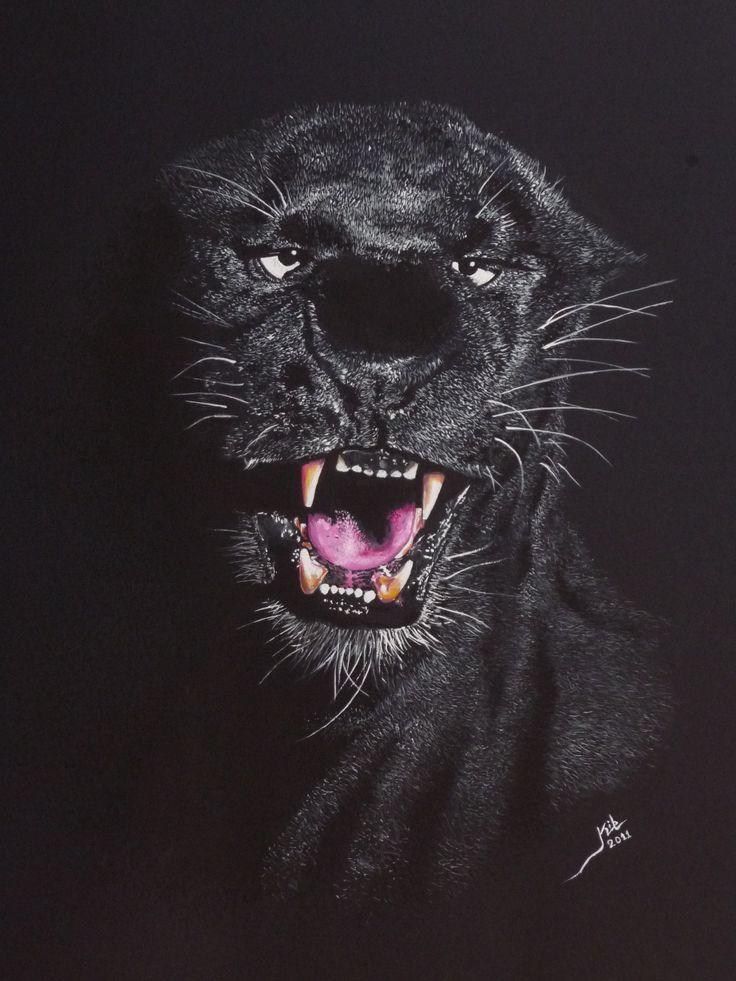 PANTERA - Dibujo con acuarela sobre papel negro 60 x 40 cm