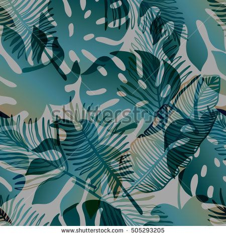 Vector tropical gradient pattern, monstera and banana leaf background for interior, textile, surface design