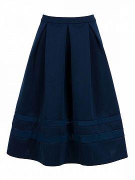 Shop Navy High Waist Mesh Insert Midi Skater Skirt from choies.com .Free shipping Worldwide.$19.9